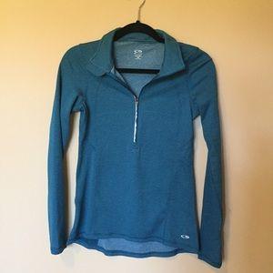 Champion teal 3/4 zip long sleeve workout jacket